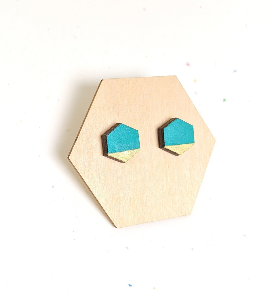 Mini Hexagon Wood Studs / Teal + Gold