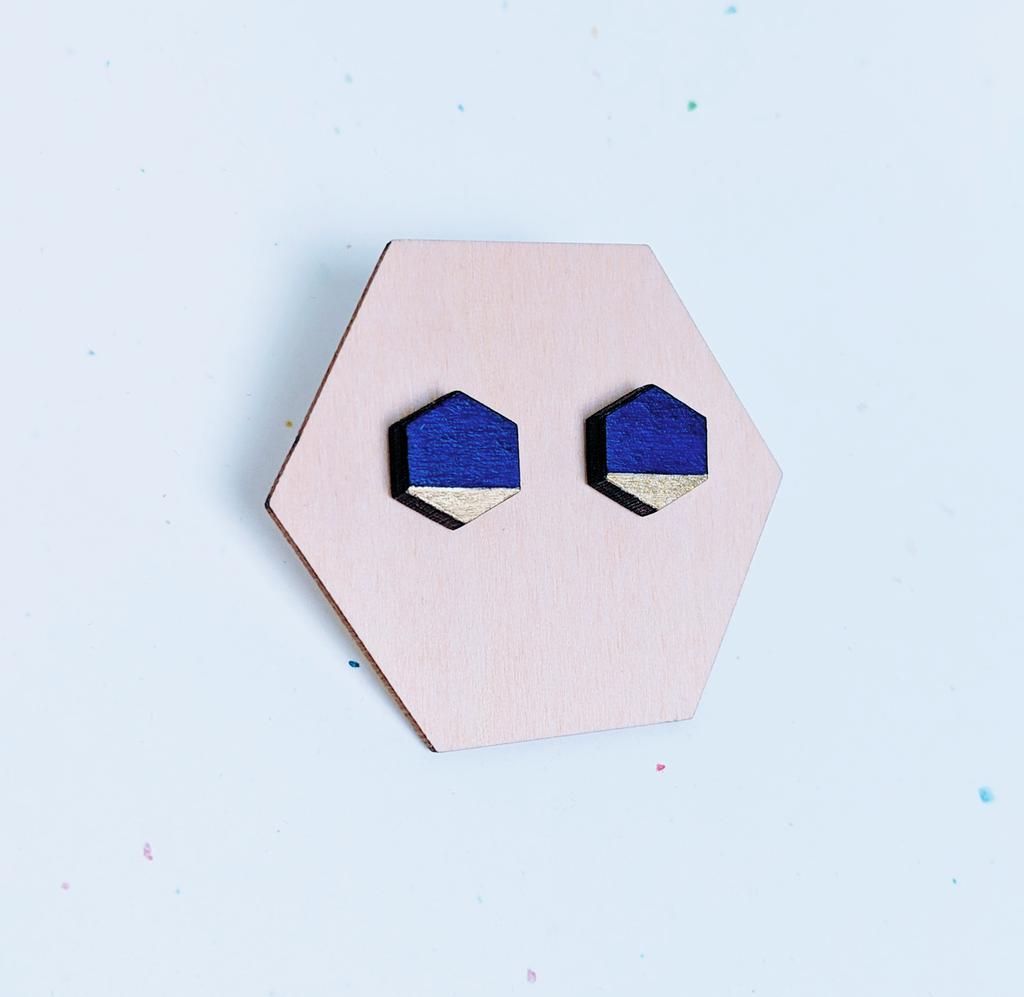 Mini Hexagon Wood Studs / Navy + Gold