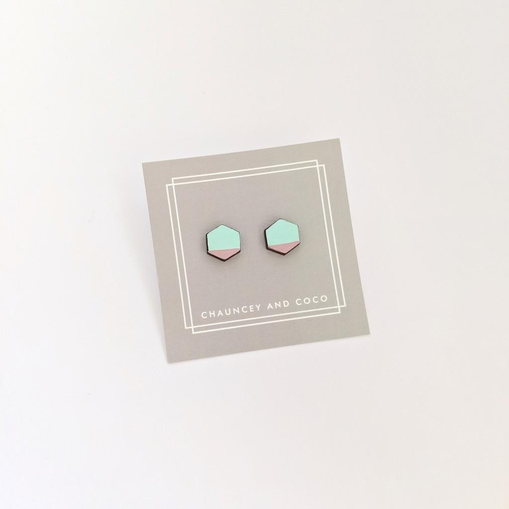 Mini Hexagon Wood Studs / Mint + Lavender