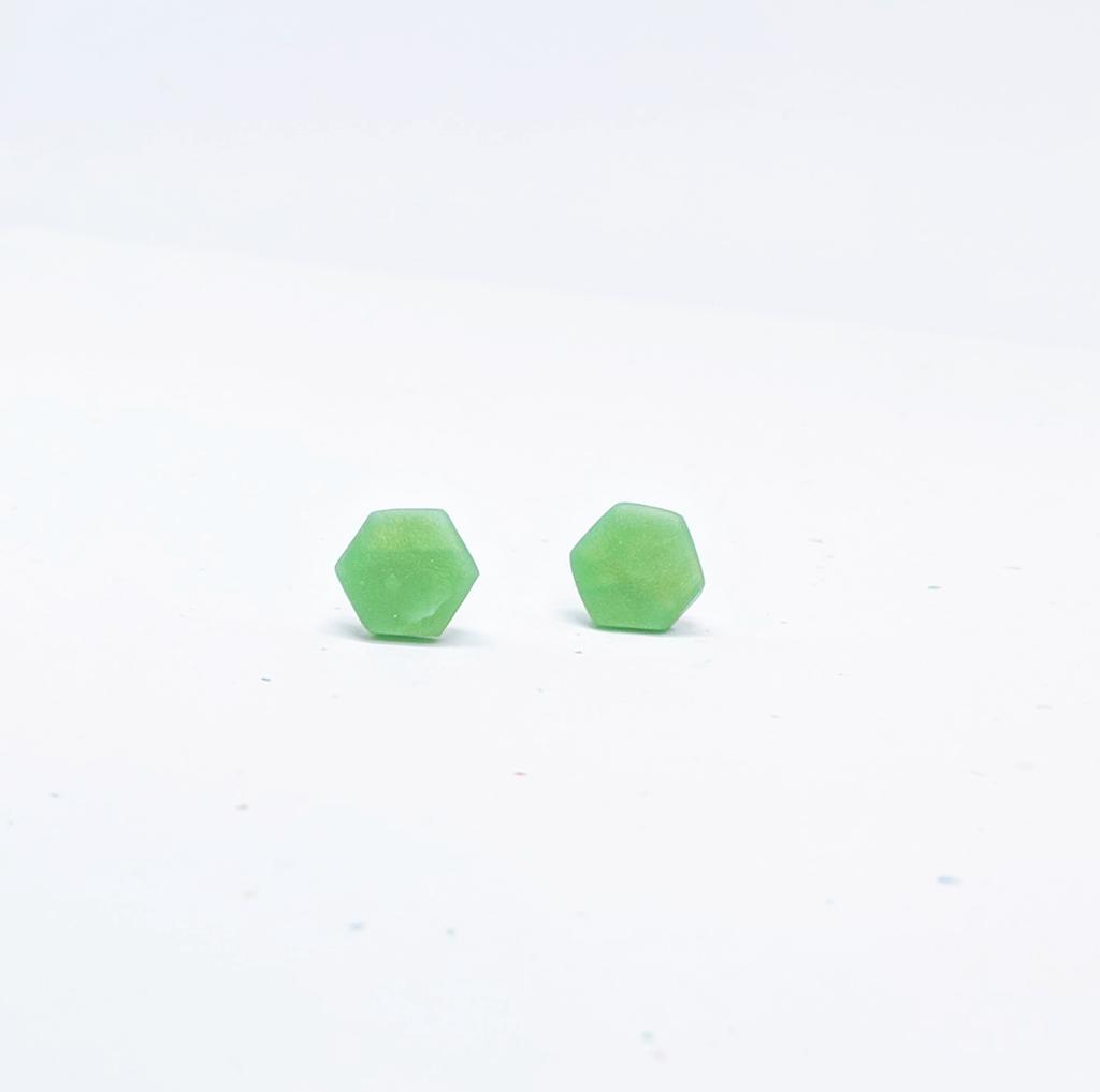 Clay Hexagon Studs / Jade Green