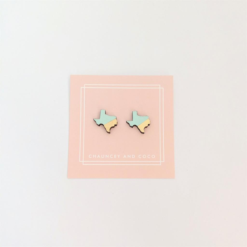 TX Studs - Mint + Gold
