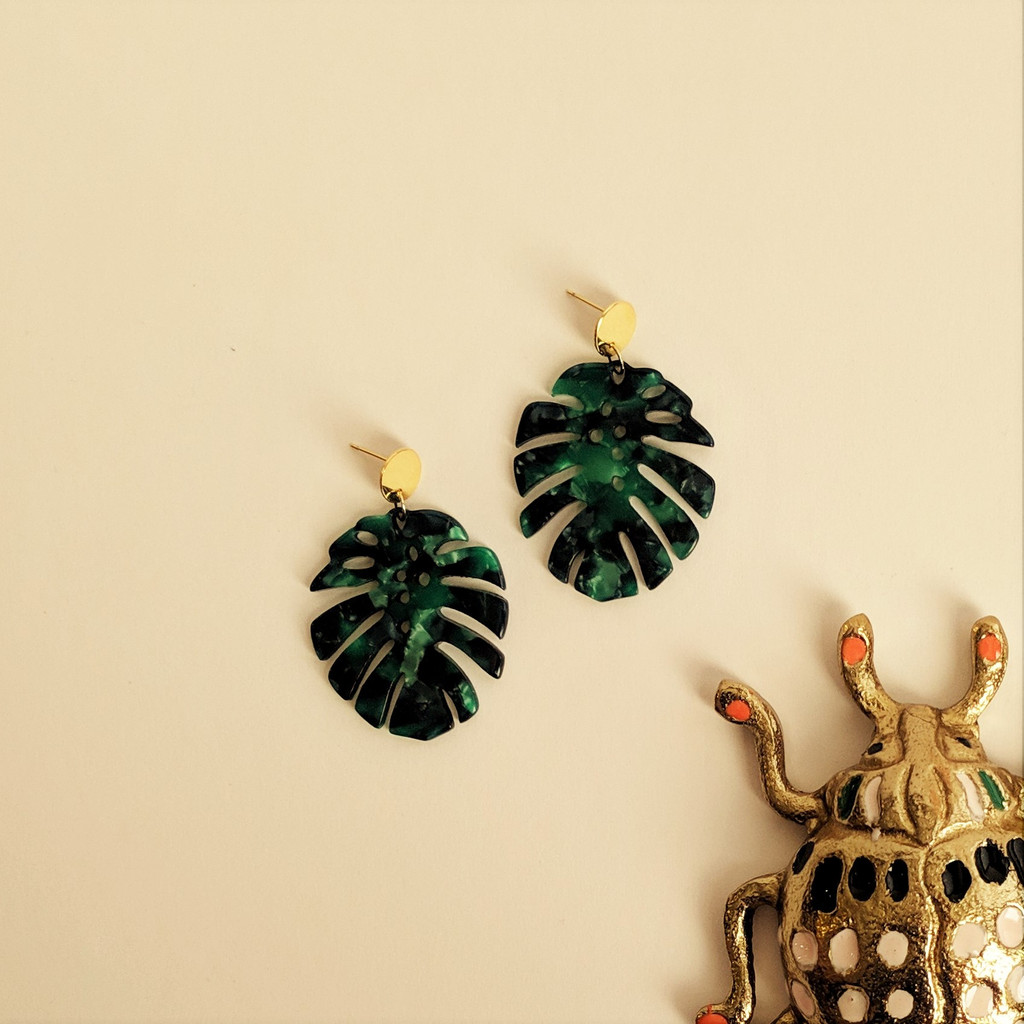 Monstera Leaf Acrylic Earrings / Green