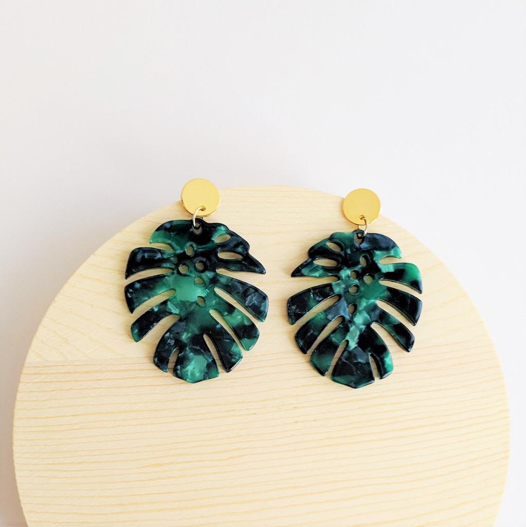 Monstera Leaf Acrylic Earrings / Green
