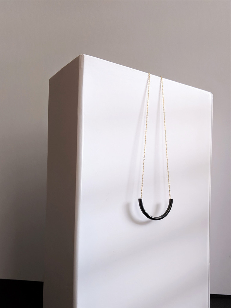 Minimalist Tube Necklace / Black + Gold