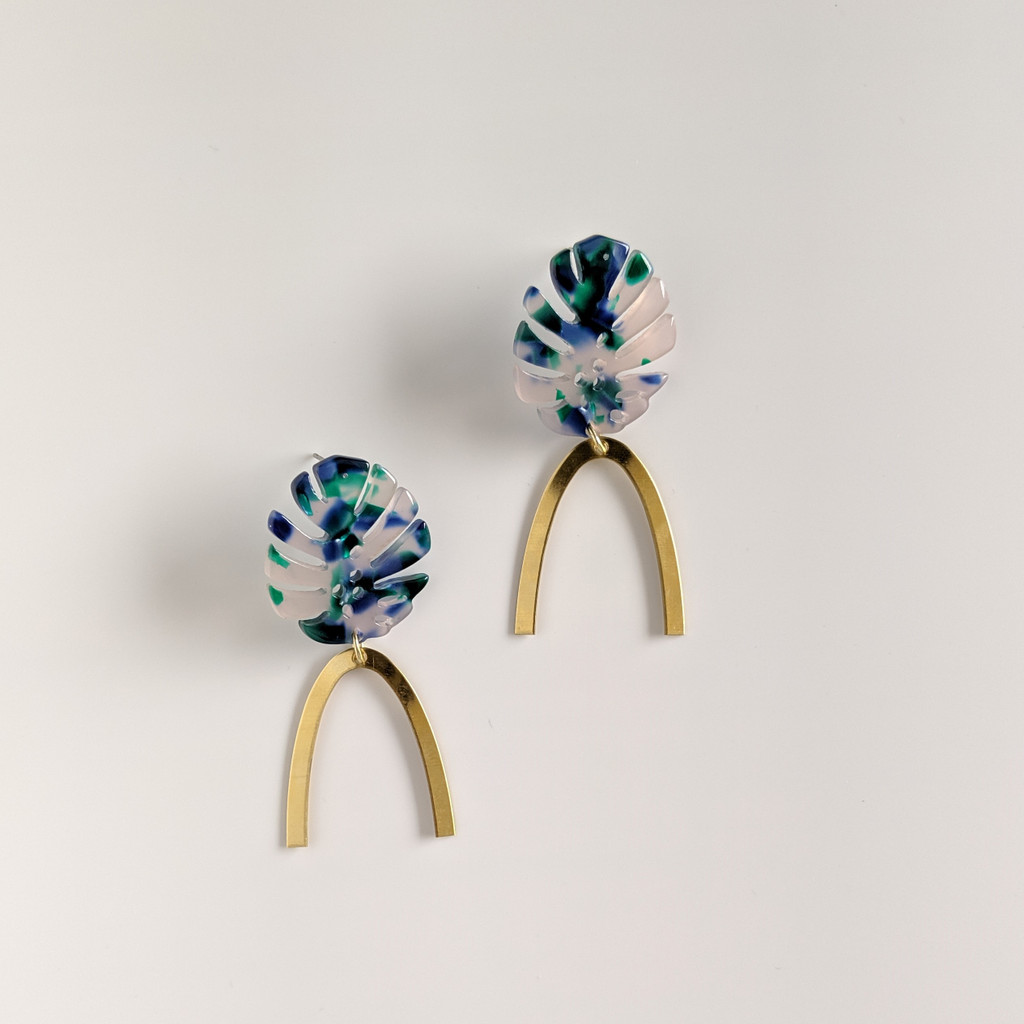 Botanical Babe Leaf Arch Earrings - Blue + Green