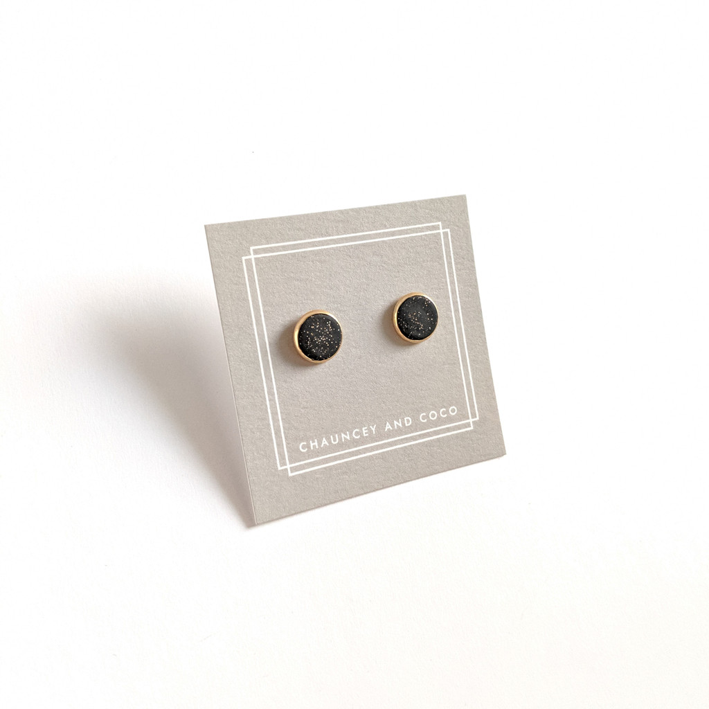 Circular Clay Stud Earrings - Black and Gold Glitter