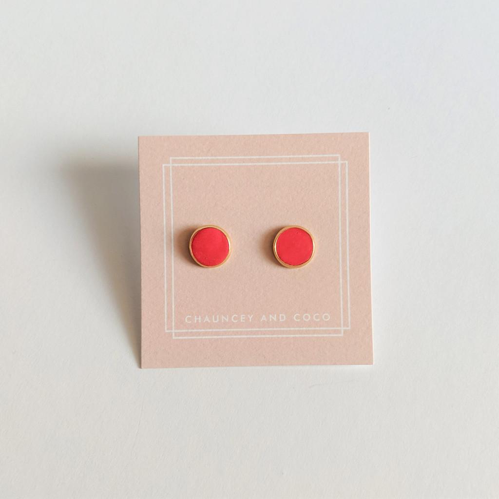 Circular Clay Stud Earrings - Dark Coral Pink Solid