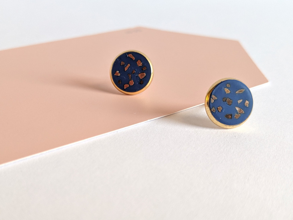 Circular Clay Stud Earrings - Navy and Gold