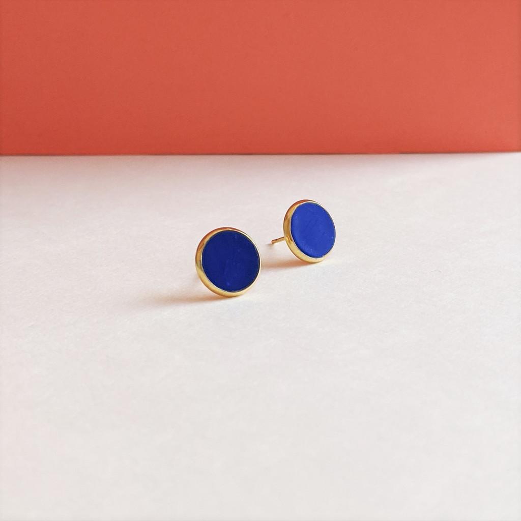 Circular Clay Stud Earrings - True Blue Solid