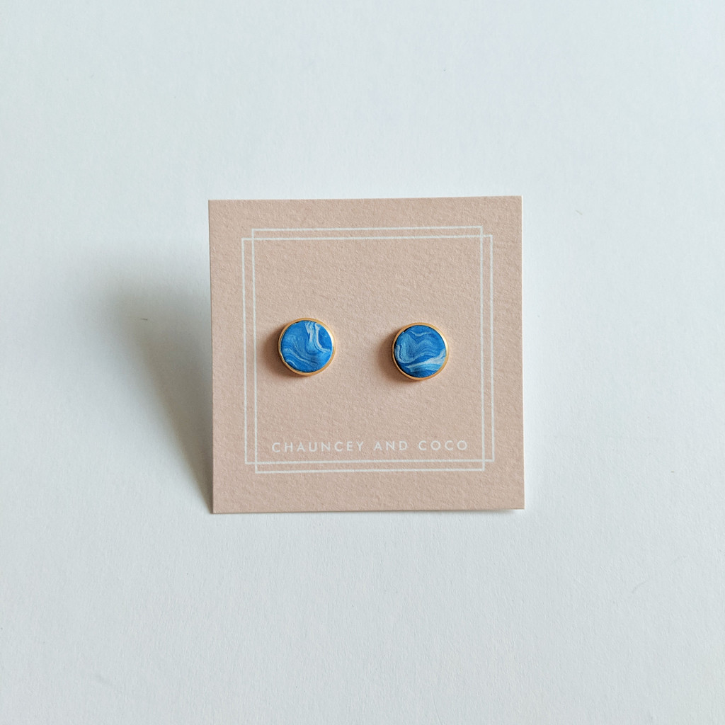 Circular Clay Stud Earrings - Ocean Blue Marble