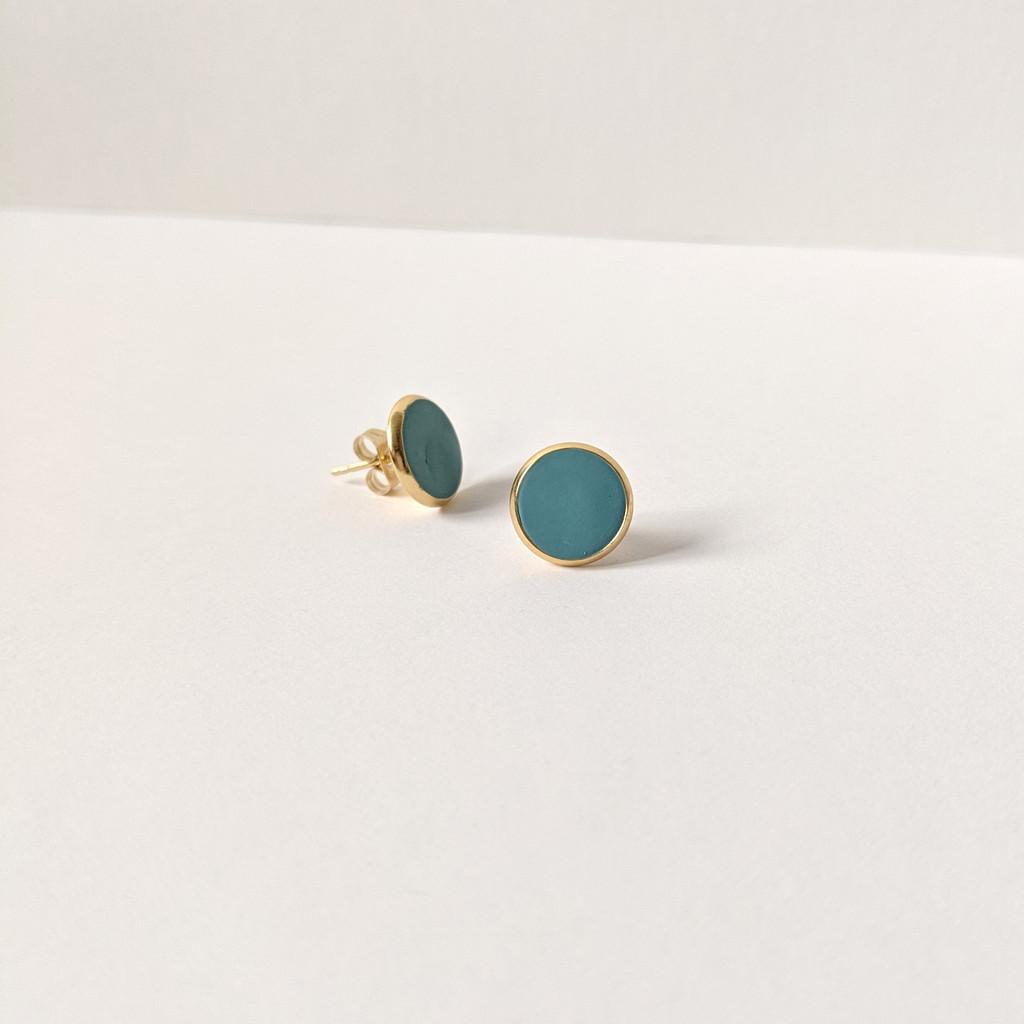Circular Clay Stud Earrings - Peacock Teal Blue Solid