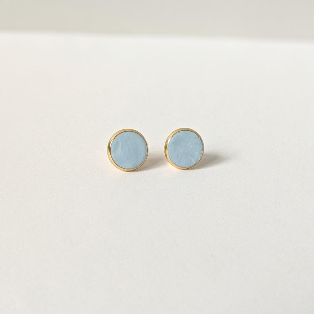 Circular Clay Stud Earrings - Sky Blue Solid