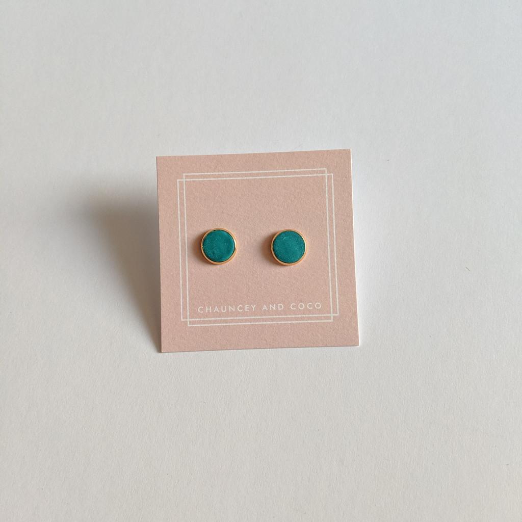 Circular Clay Stud Earrings - Teal Green Solid