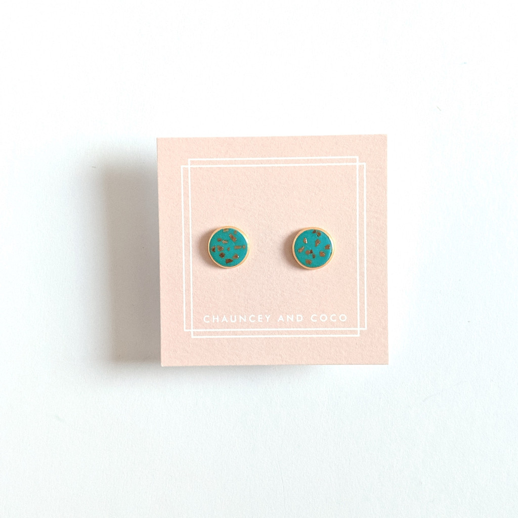 Circular Clay Stud Earrings - Teal and Gold