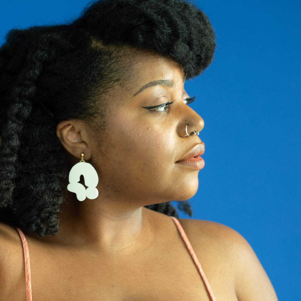 The Hera Clay Abstract Earrings - White