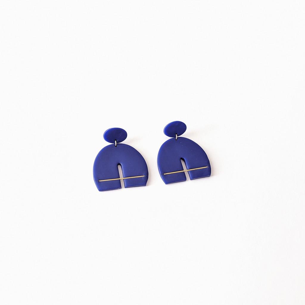 The Iris Clay Earrings - Blue