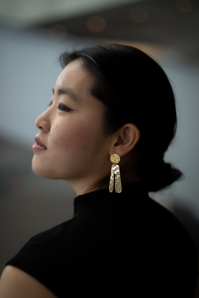 The Titaness - Hammered Gold Plated Earrings