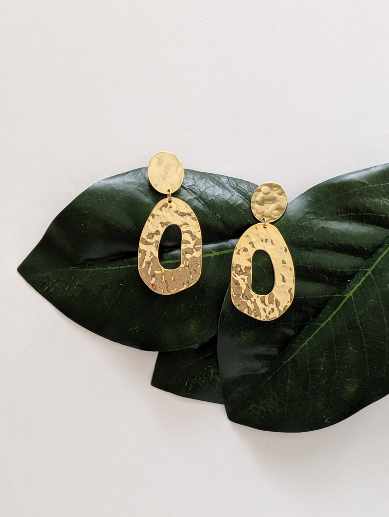Juno - Hammered Gold Plated Oval Earrings