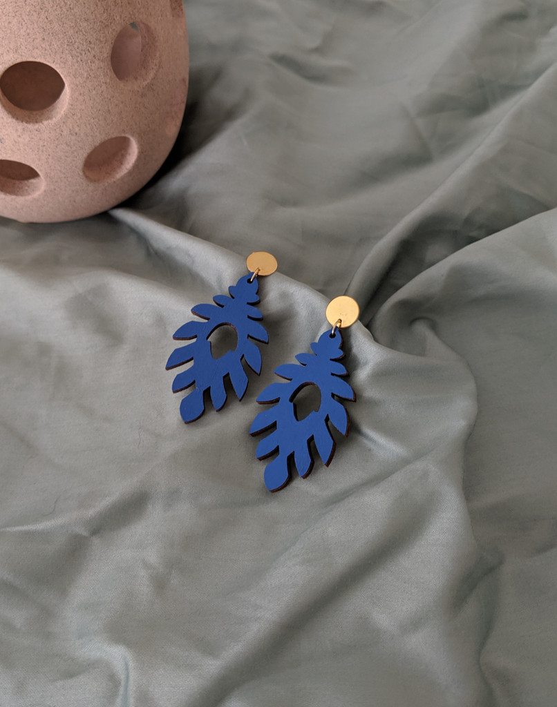 The Athena Wood Earrings - Blue