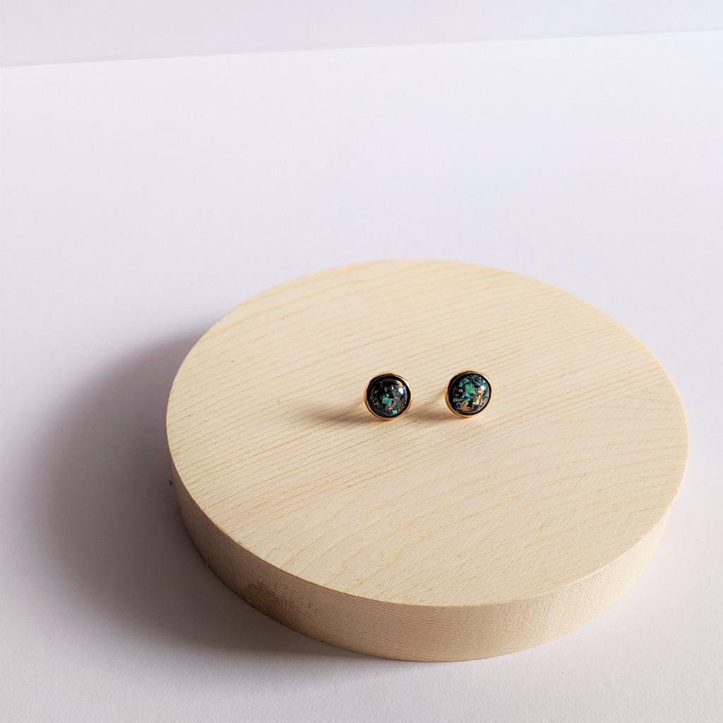 Resin Dome Stud Earrings - Black + Opal & Gold Flake