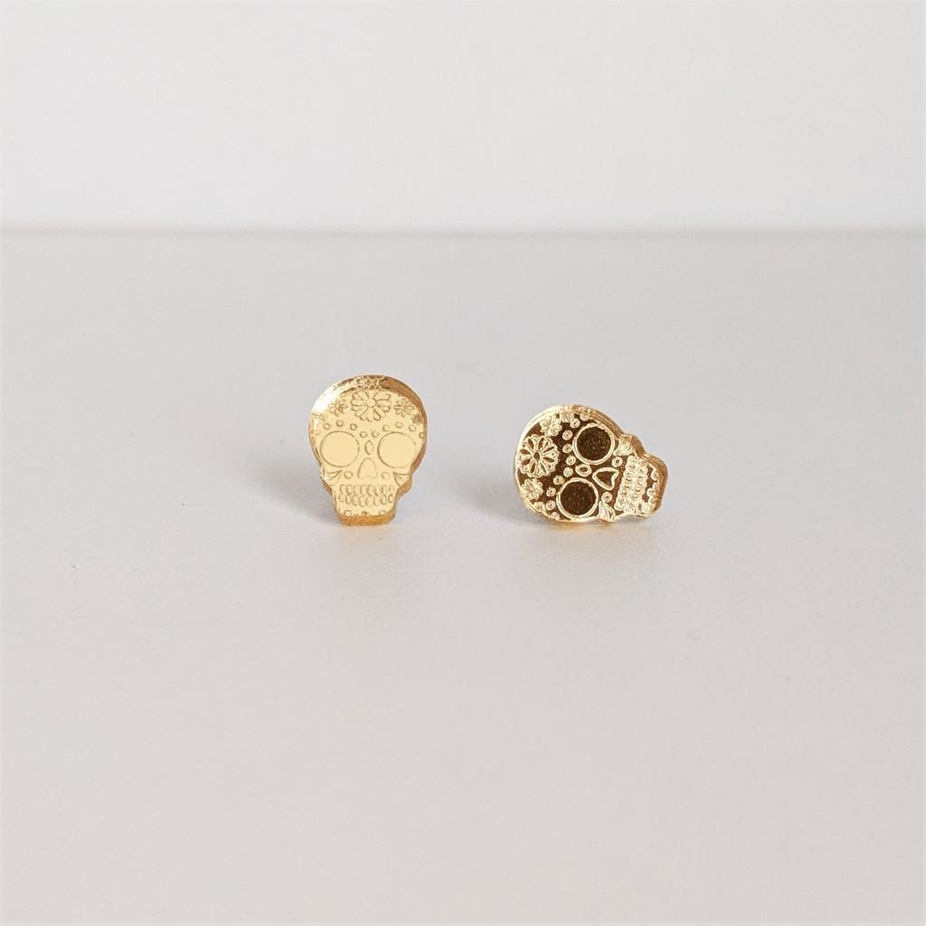 Sugar Skull Acrylic Stud Earrings - Gold Mirror