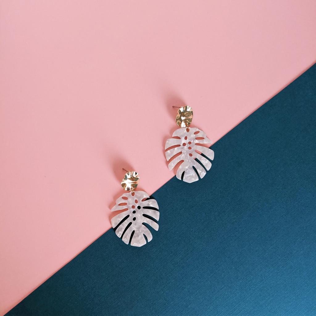 Monstera Leaf Acrylic Earrings - White