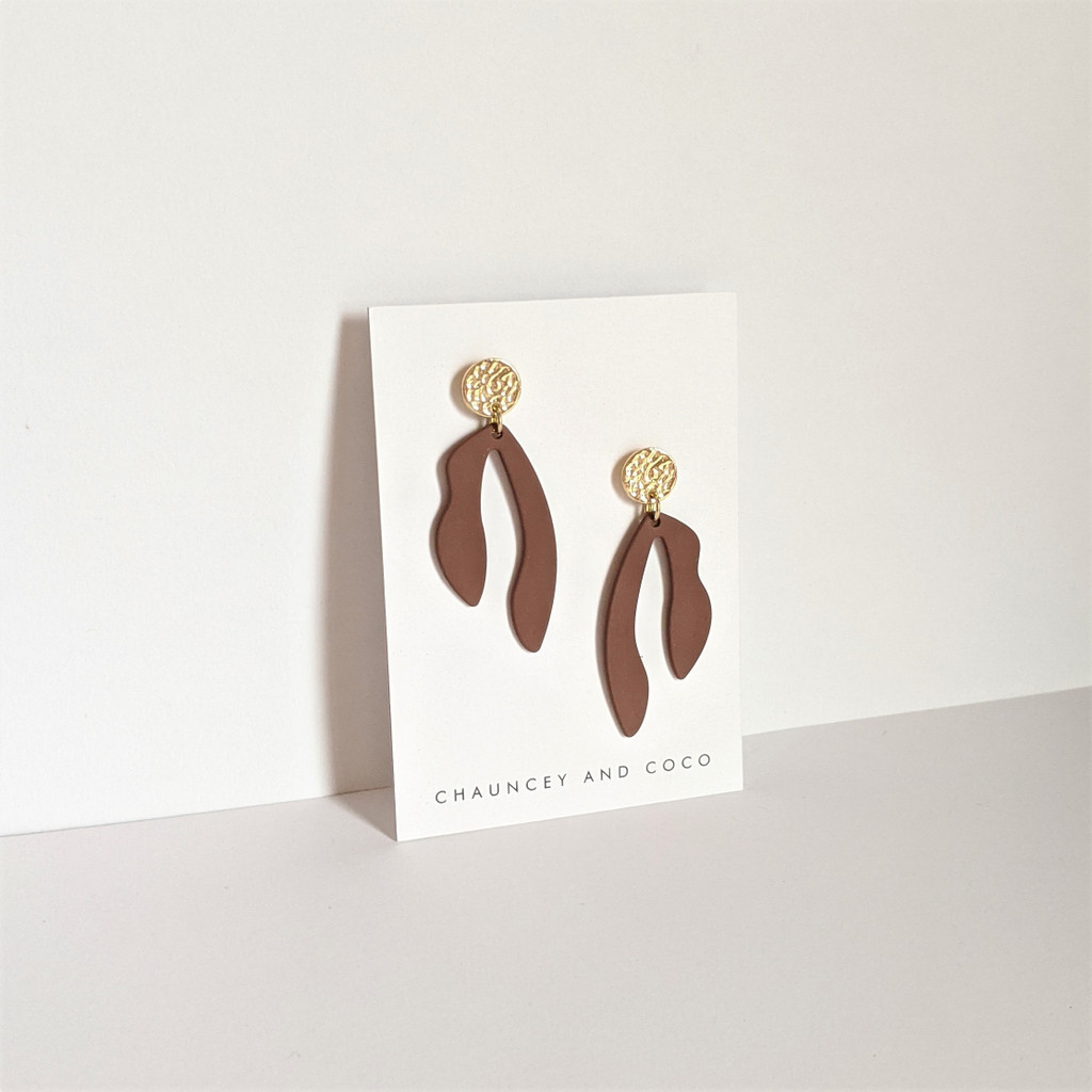Abstract Cut Out Drop Earrings - Taupe