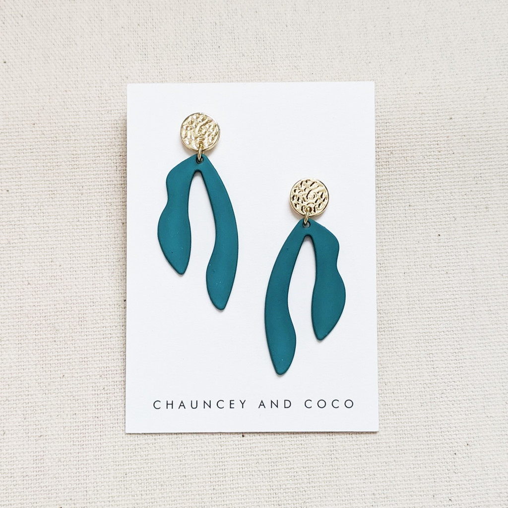 Abstract Cut Out Drop Earrings- Teal Green