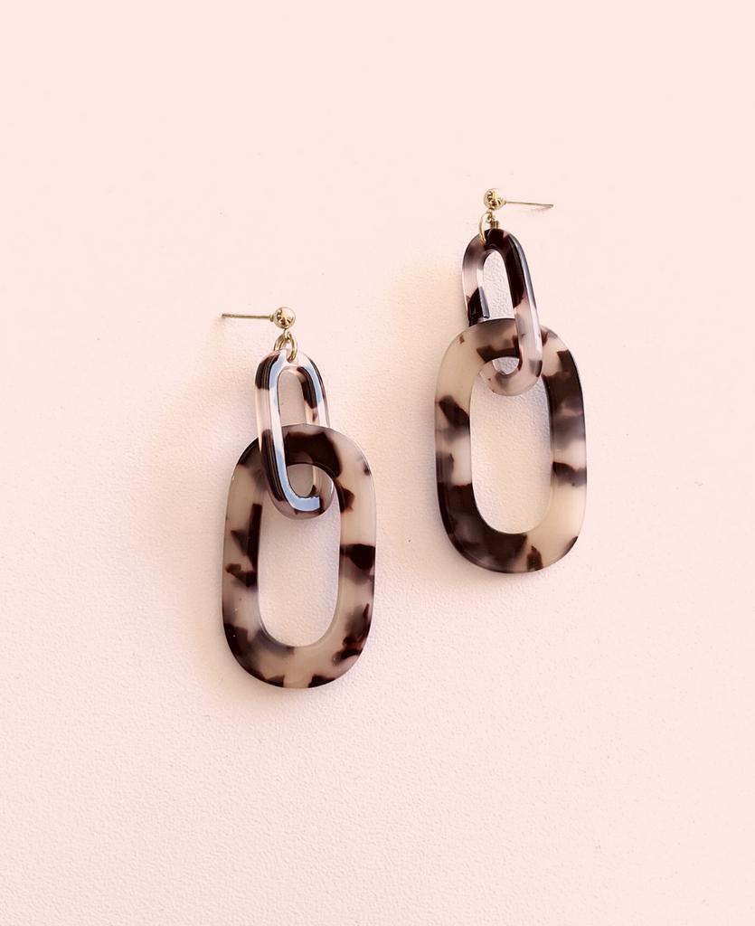 Acrylic Link Drop Earrings- Coffee Tortoise