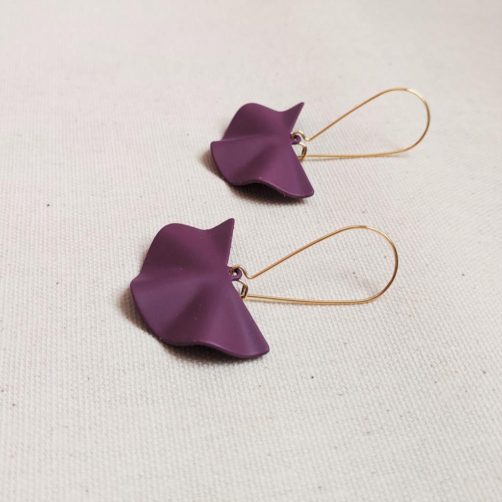 Wavy Fan Drop Earrings - Deep Purple