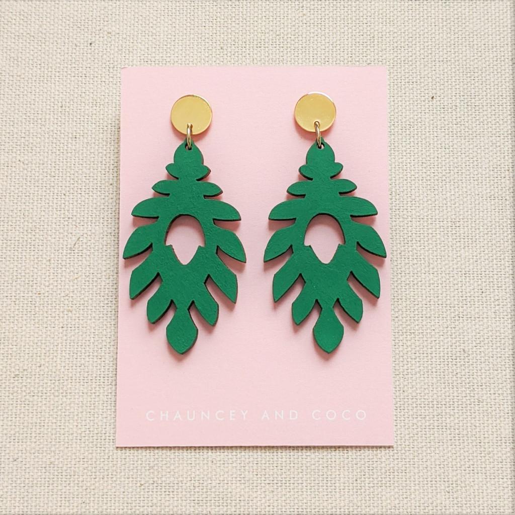 The Athena Wood Earrings - Green