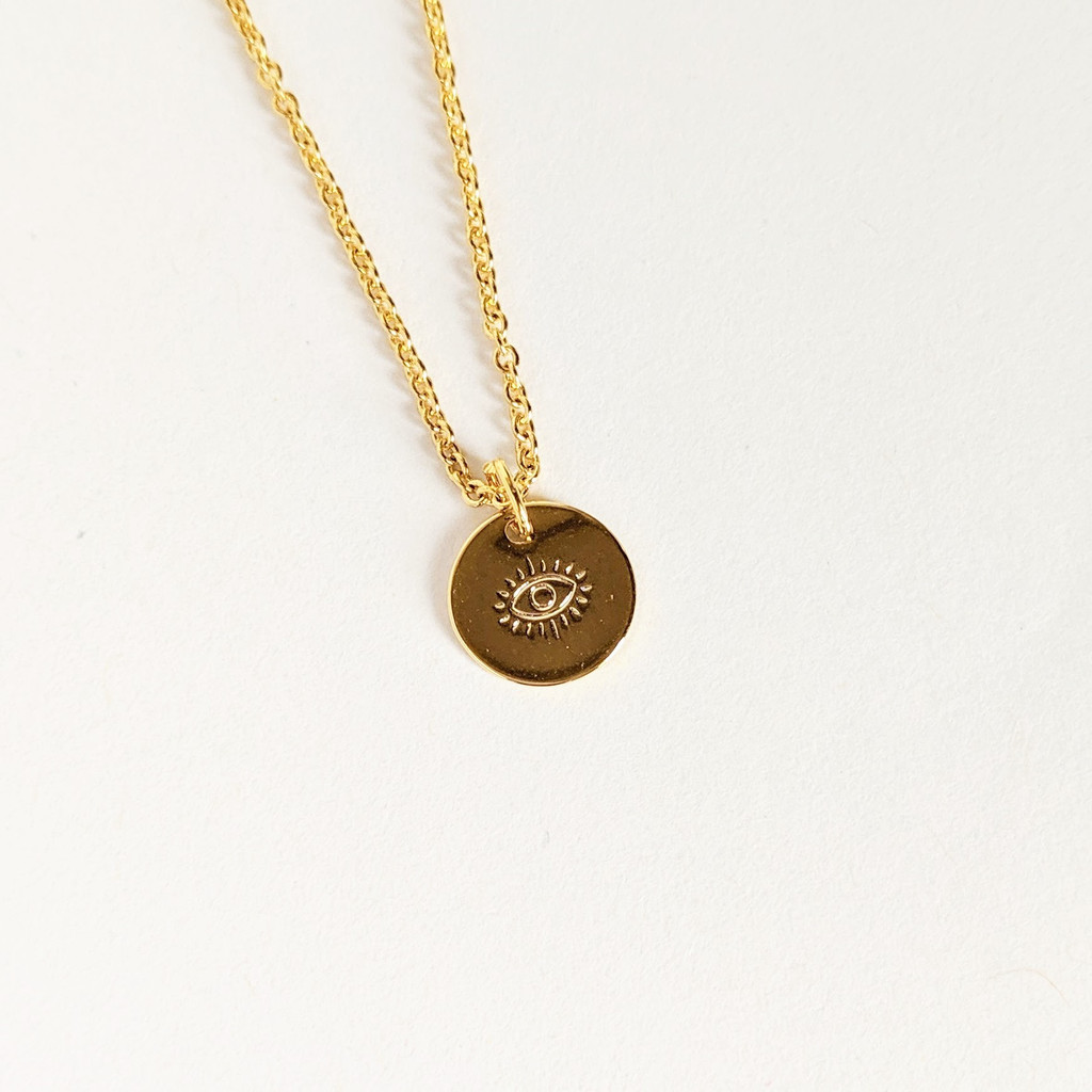 Engraved Eye Dainty Coin Necklace