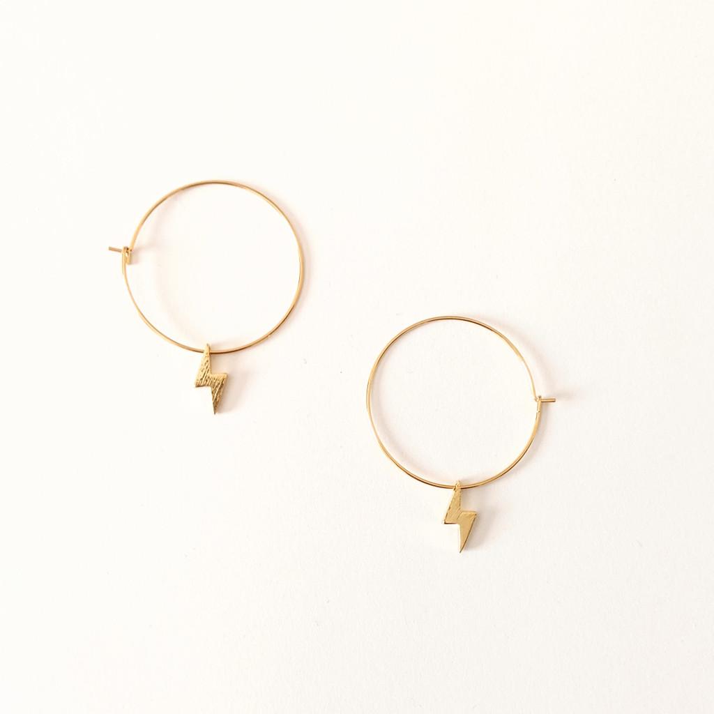 Dainty Lightning Bolt Gold Hoop Earrings
