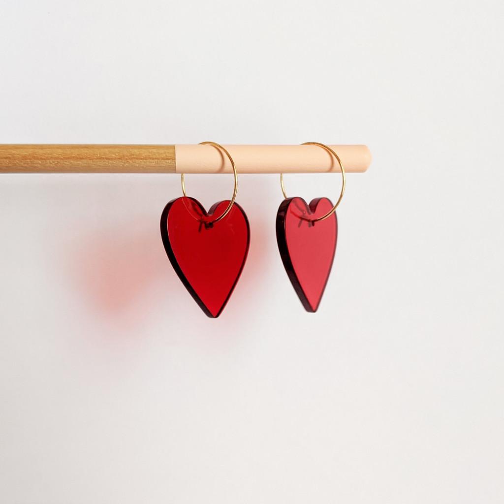 Acrylic Heart Hoop Earrings / Red