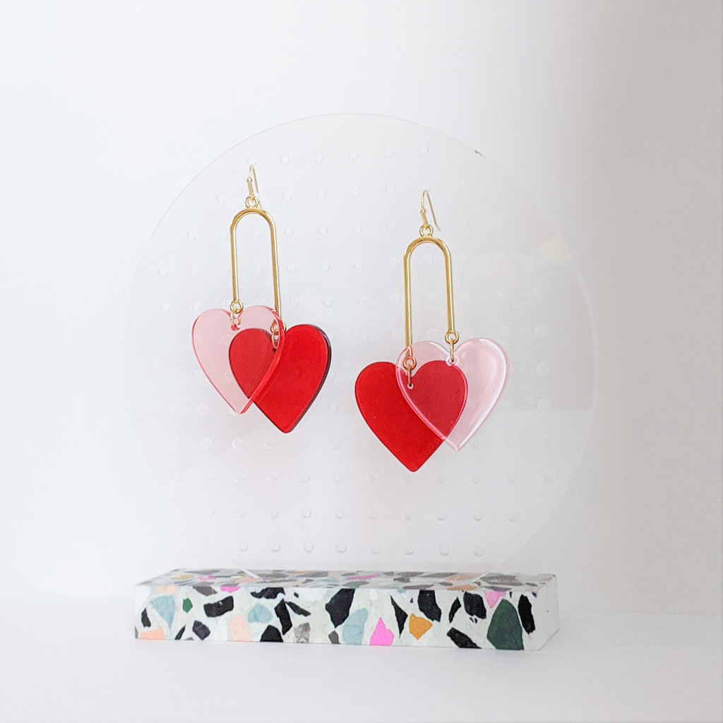 Layered in Love tiered heart earrings