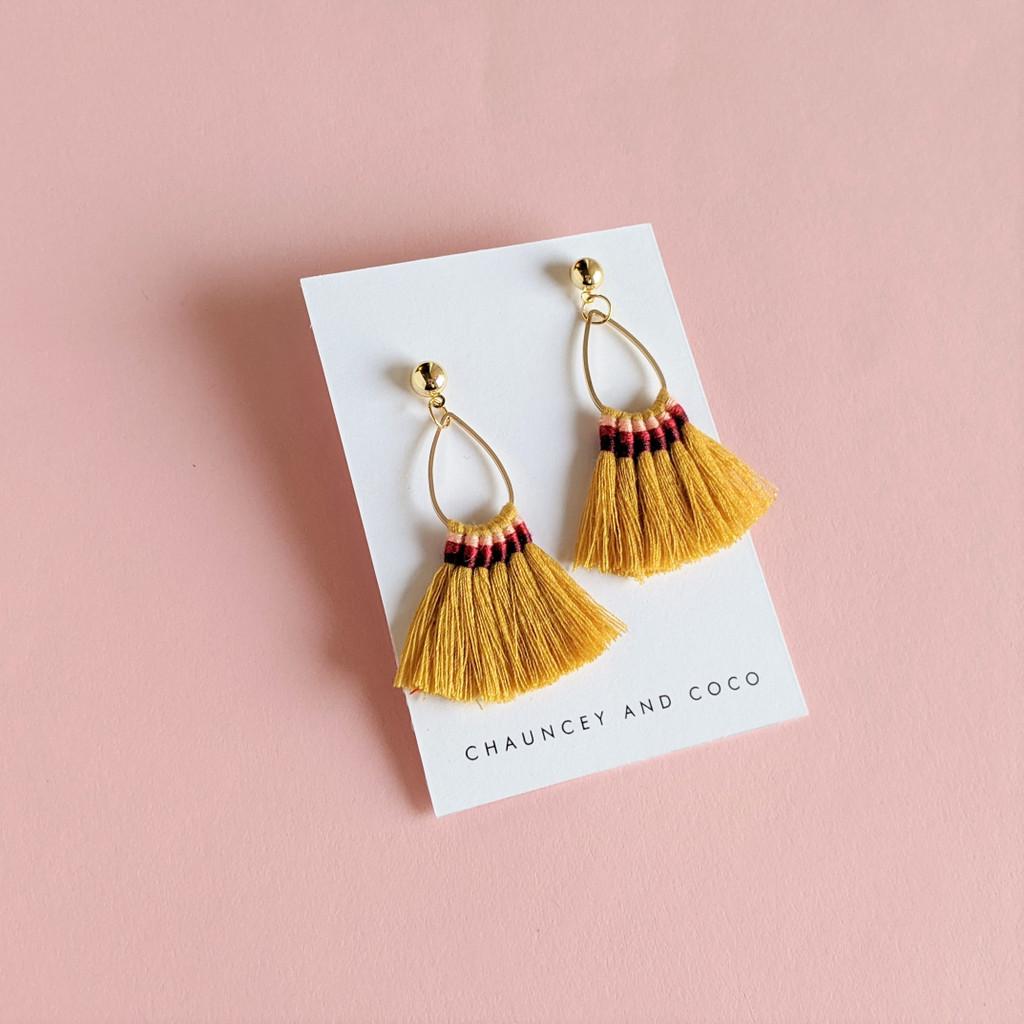 Mustard Yellow Boho Tassel Earrings