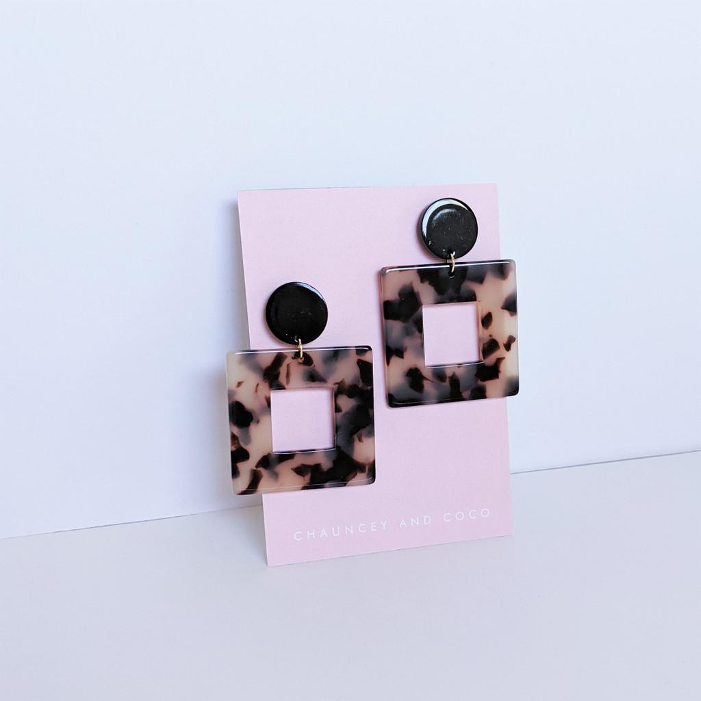 Acrylic Square Earrings / Coffee Tortoise