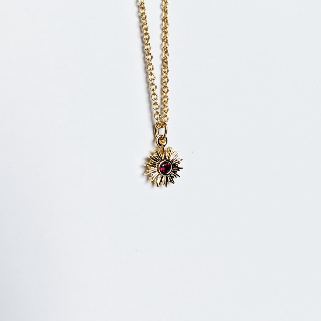 Mini Sun Gem Necklace - Deep Red