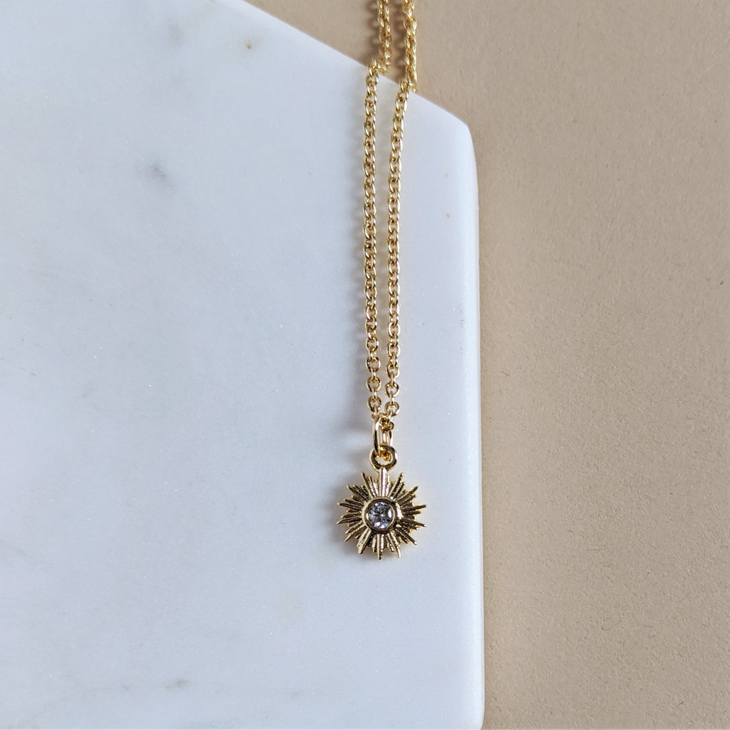 Mini Sun Gem Necklace - Cubic