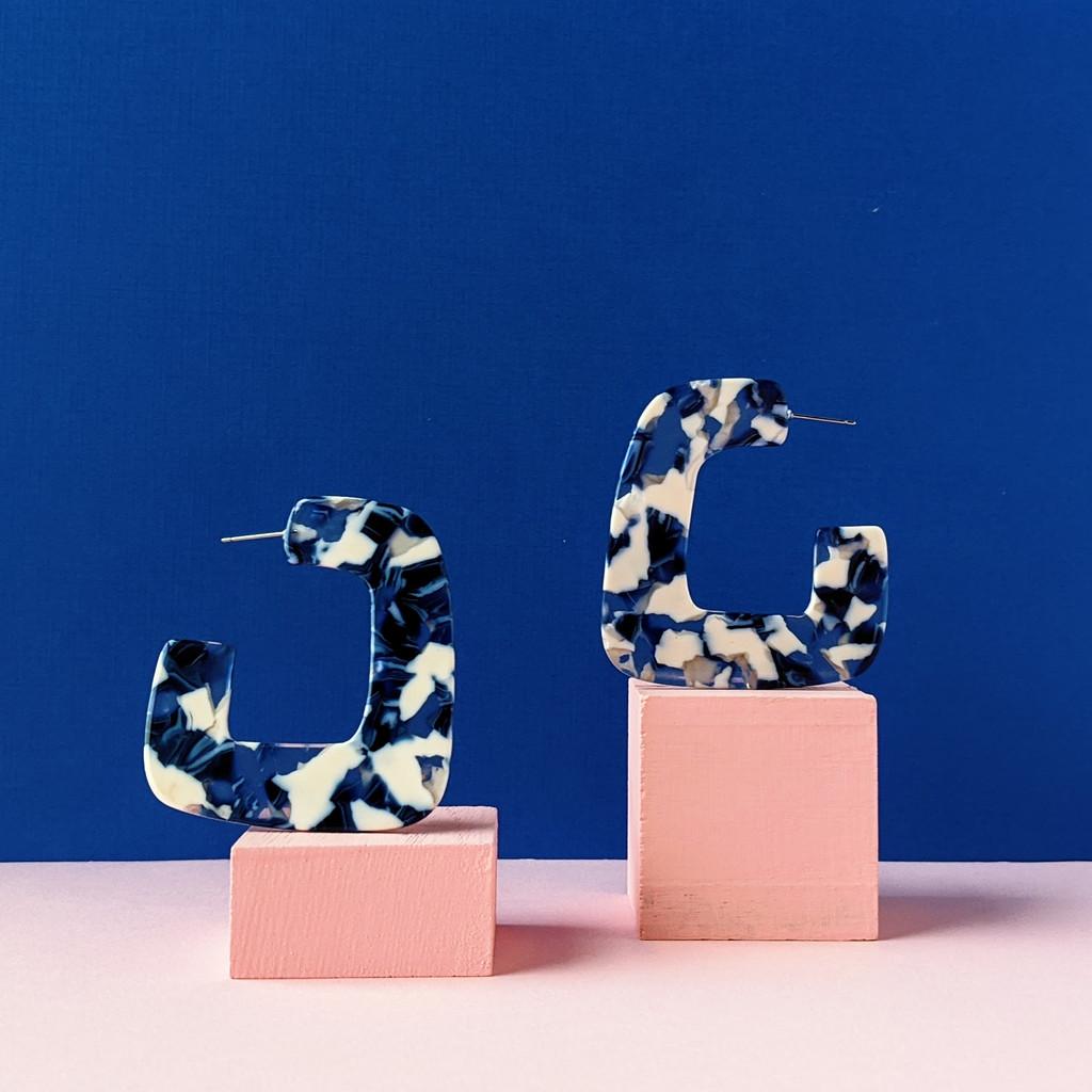 Around the Corner Acrylic Earrings / Blue + White