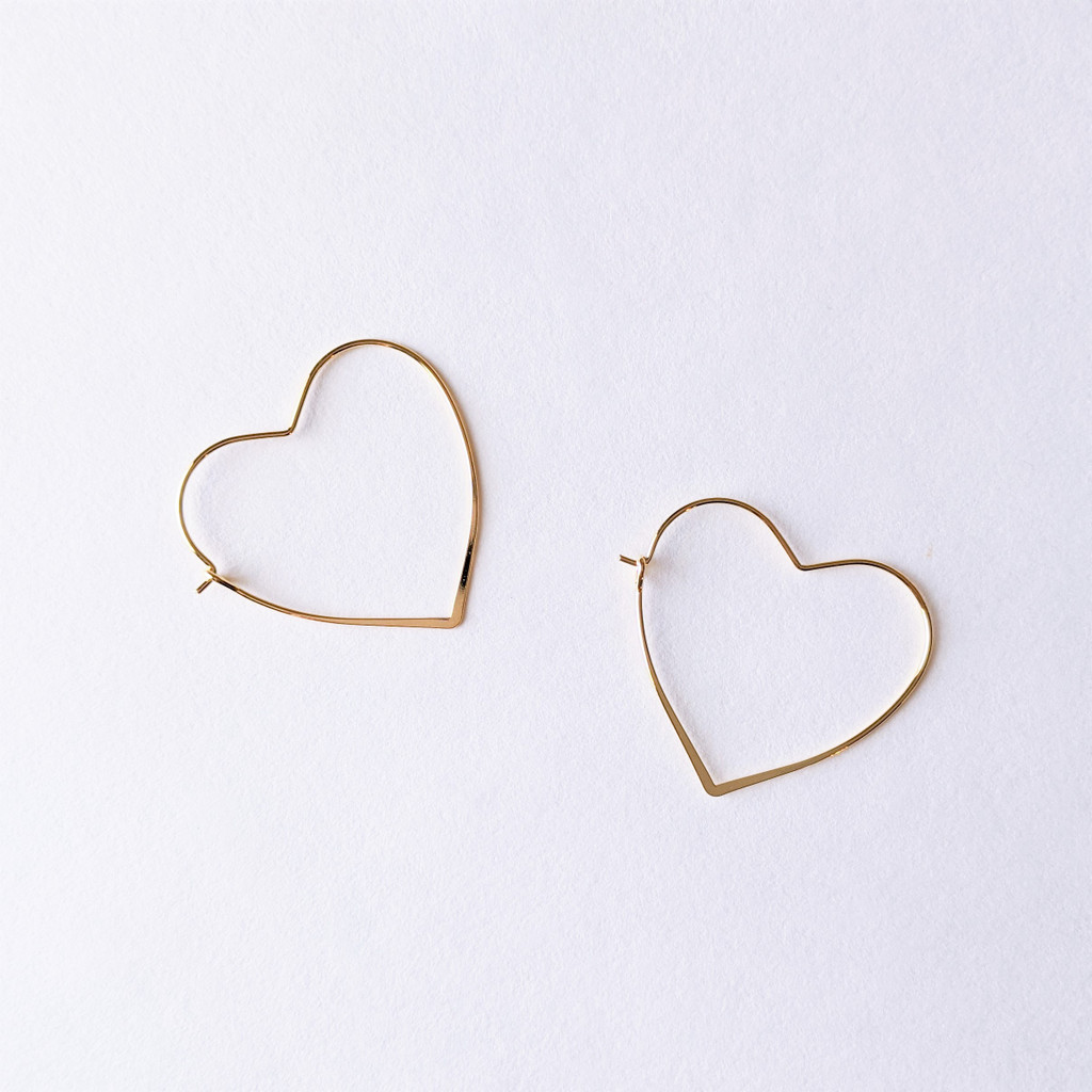 Heart of Gold Hoops - Gold Plated