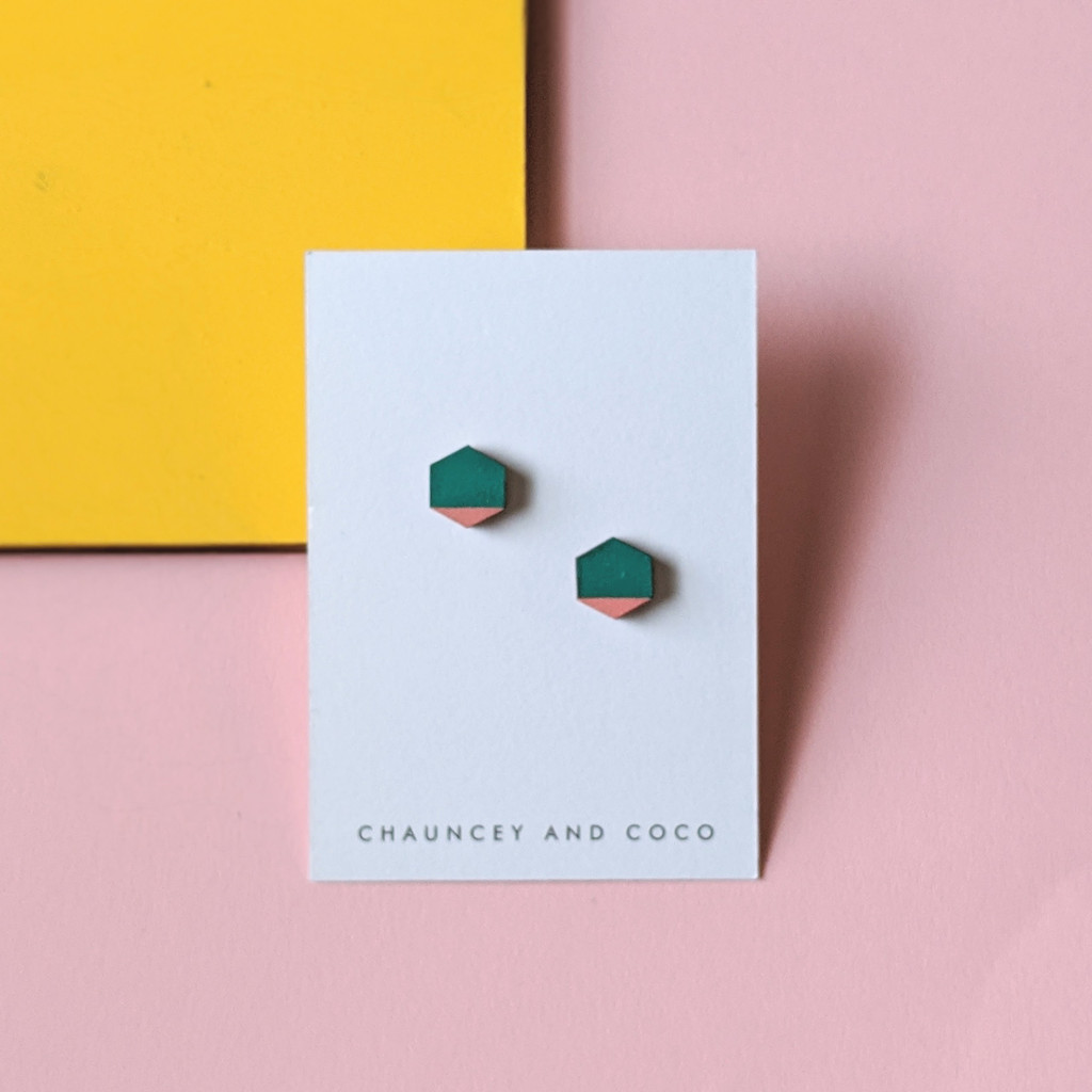 Hexagon Wood Studs / Green + Pink