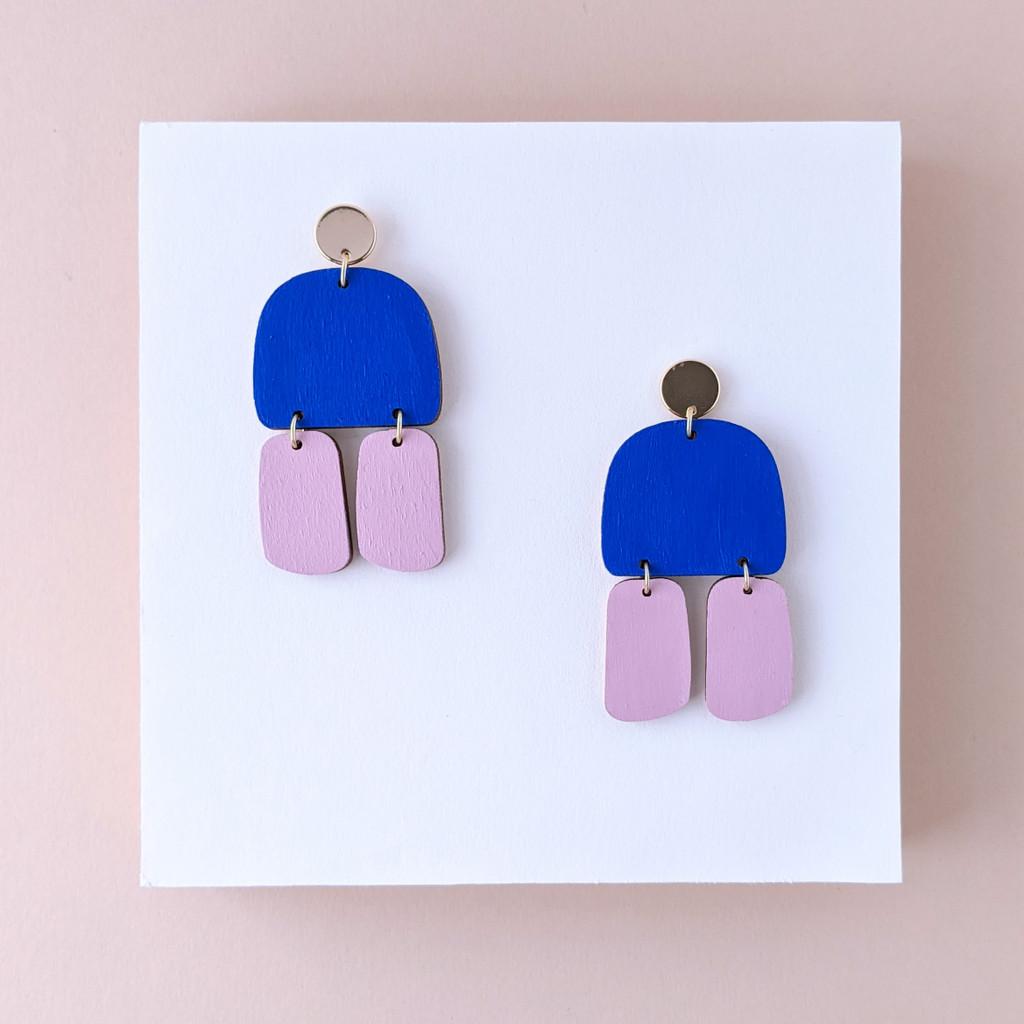Triptych Wood Earrings / Blue + Lavender