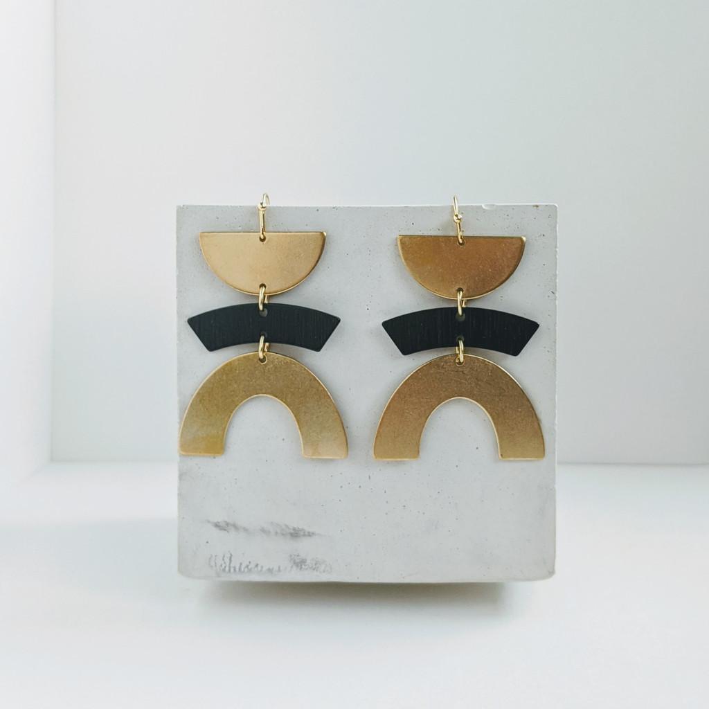 Balancing Act geometric brass earrings