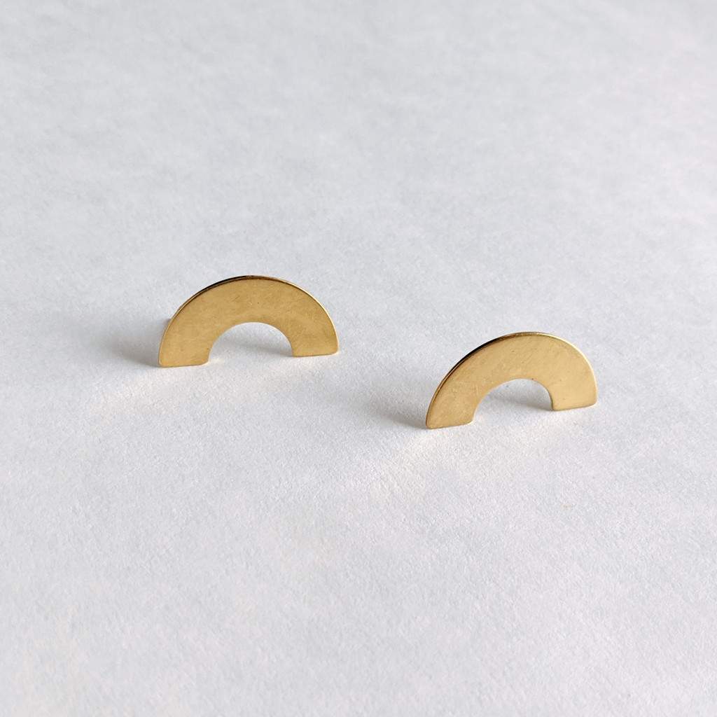 Meet me in the Middle brass arch earrings