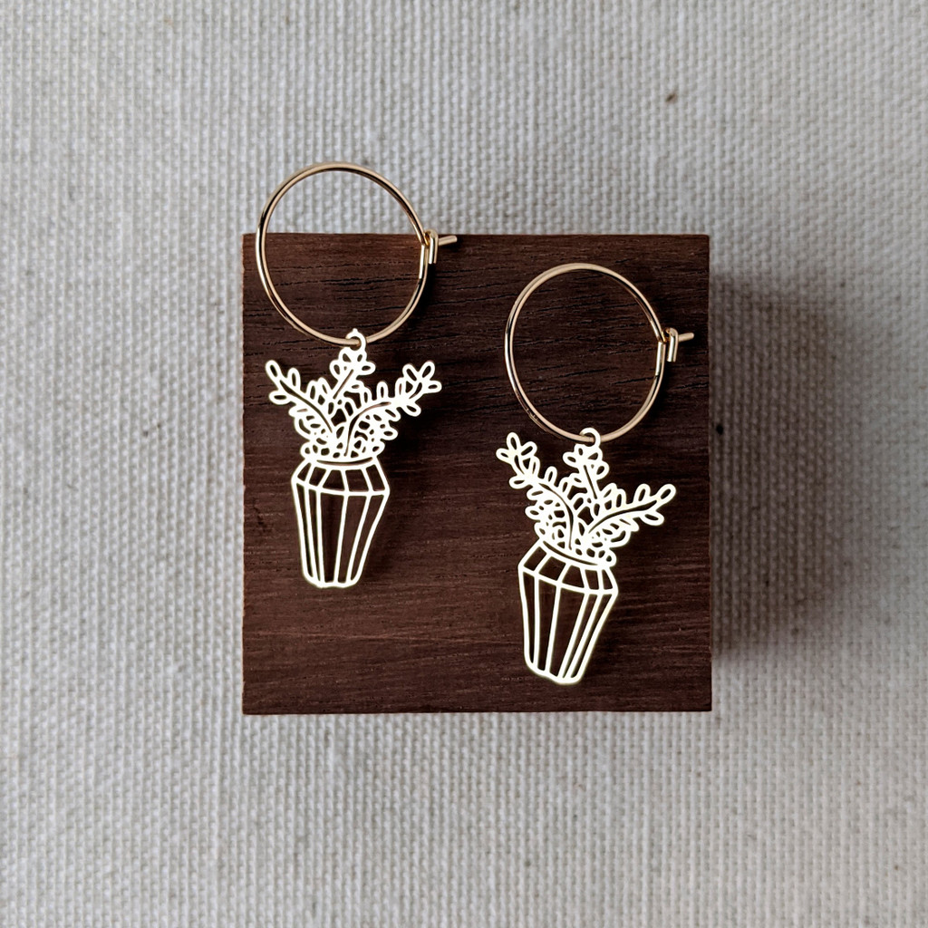 Potted Plant Dainty Hoops
