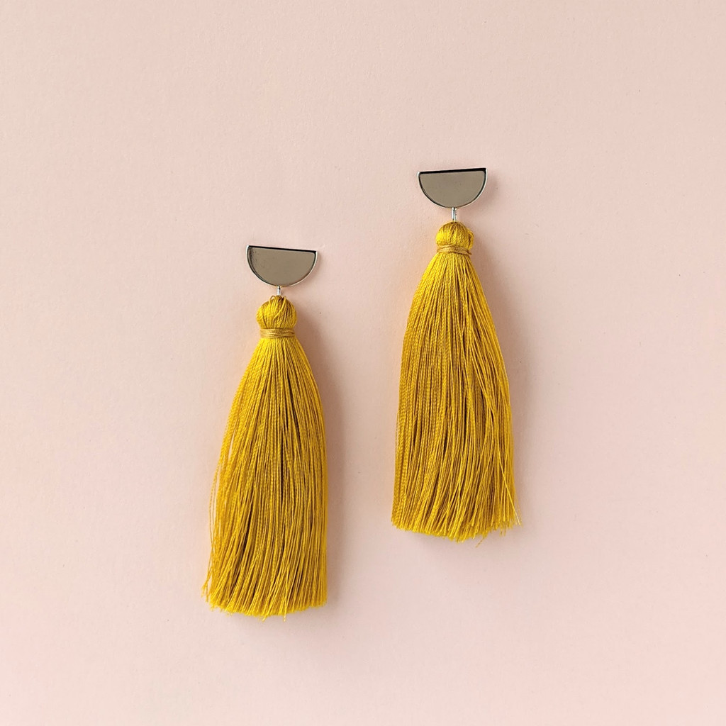 Half Moon Tassel Earrings - Deep Golden Yellow