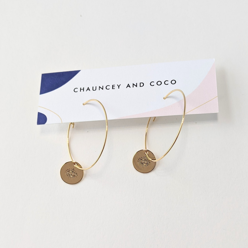 Engraved Eye Dainty Coin Hoops