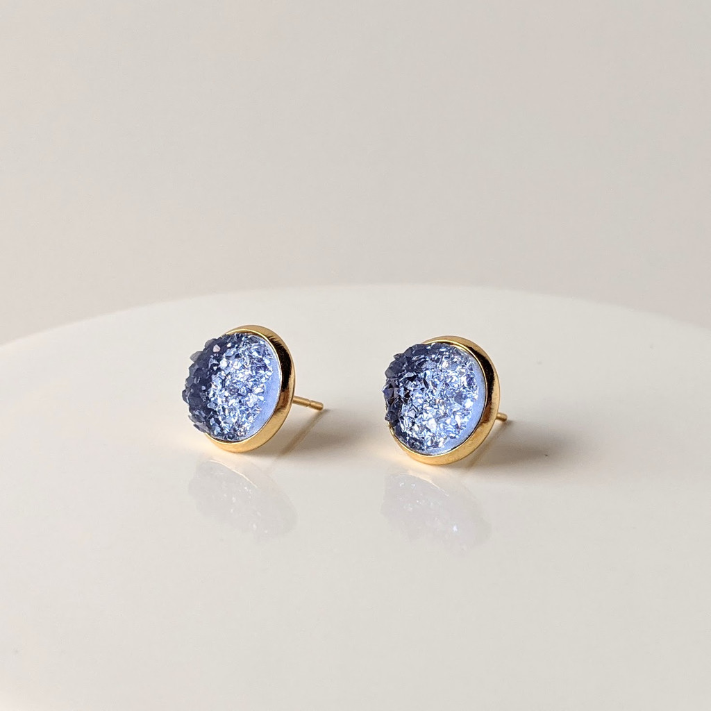Arctic Blue druzy studs / gold plated