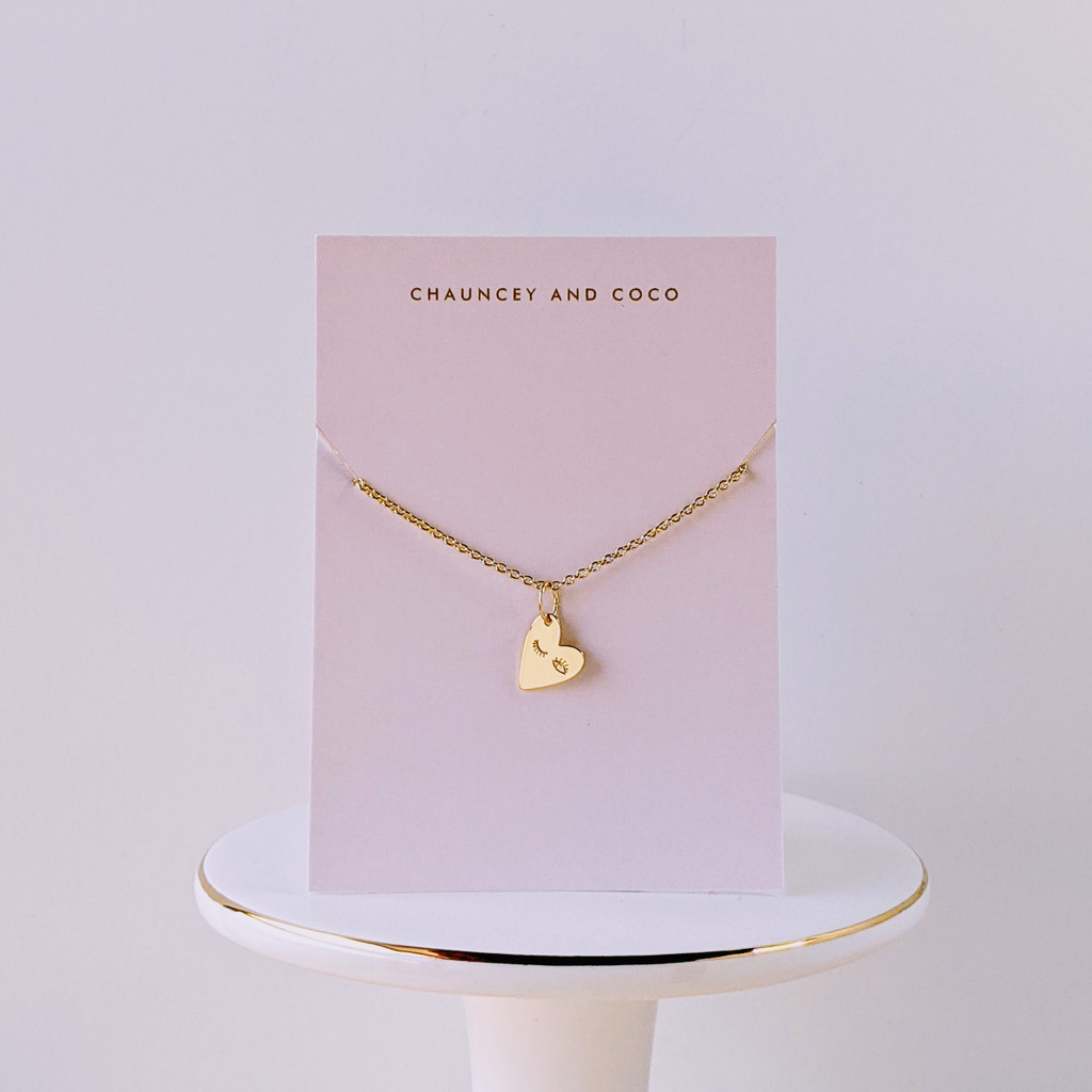 Winking Heart dainty gold necklace